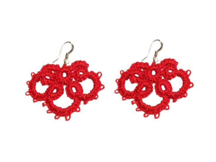 Tatting earring red