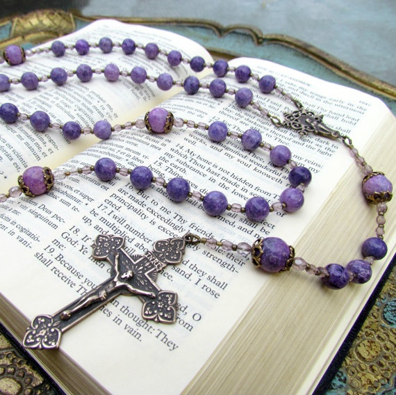 Handmade Catholic Rosary Beads with Purple by GracefulRosaries, $65.00