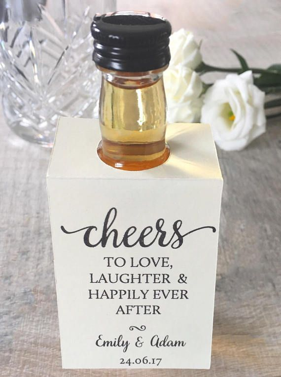 Handmade Personalised Wedding Favour Bottle Collars For Use With Miniature Alcohol Alcohol Wedding Favors Personalized Wedding Favors Creative Wedding Favors