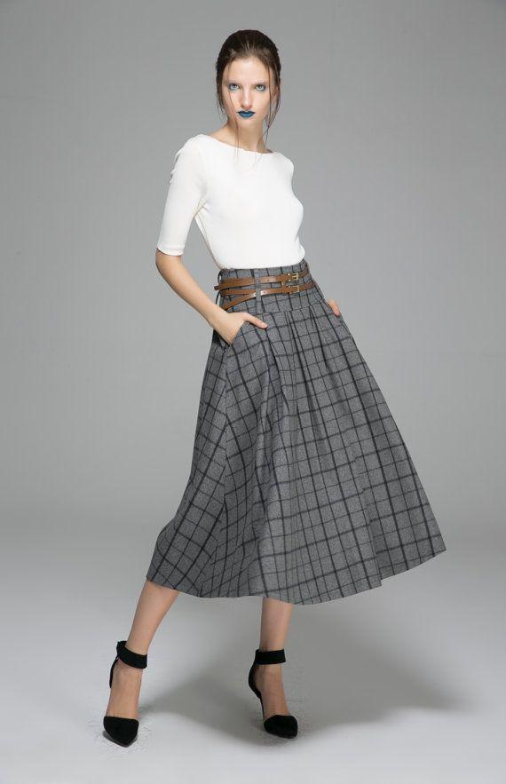 Ethnic gray skirt maxi wool skirt plaid winter skirt (1379)