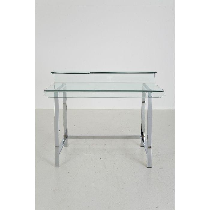 Γραφείο Visible Clear Αν και λιτό, ιδιαίτερο γραφείο από διαφανές γυαλί ασφαλείας 12mm και πόδια από γυαλιστερό χρώμιο.