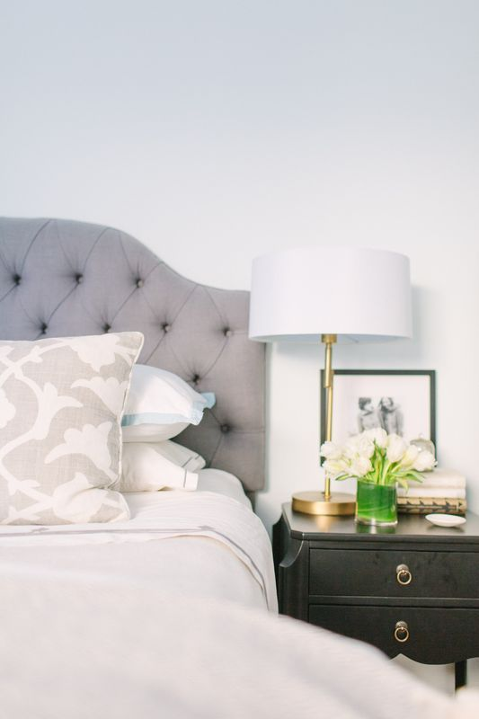 @Danielle Lampert Moss Chicago Home Tour // bedroom styling // neutrals // Farrow & Ball Cabbage White // @Karen Crump Designs gray headboard // @Lucy Chavez Style Lighting gold lamps // @Jay Hart Home terrarium // Serena & Lily bedding // photography by Stoffer Photography