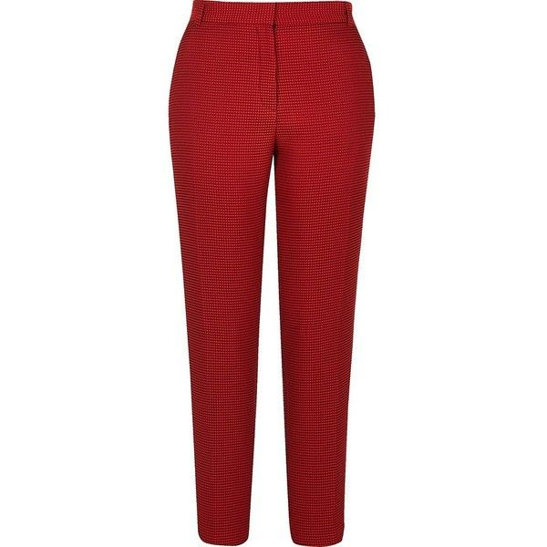 River Island Red slim fit woven trousers (710 ARS) ❤ liked on Polyvore featuring pants, trousers, tall pants, red trousers, river island, slim trousers and red slim pants