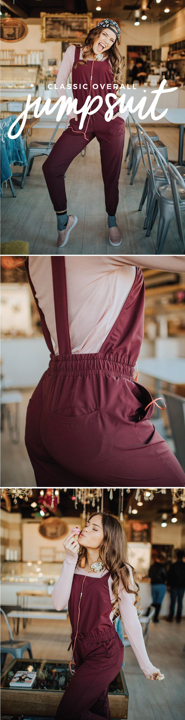 NEW ARRIVALS! Say hello to our Classic Overall Jumpsuit in beautiful Wine. Featuring the same easy fit and gold zippers as our bestselling V-Neck Overall Jumpsuit, but now with a classic straight, square neck at front. Adjustable straps make for the perfect fit (plus you can criss cross them to mix it up!). Pair with one of our cozy Go Long Crew Tee Shirts and you're ready to hang out with friends, lounge at home or go out with your sweetheart! #rompers #jumpsuits #athleisure #leisure #cozy