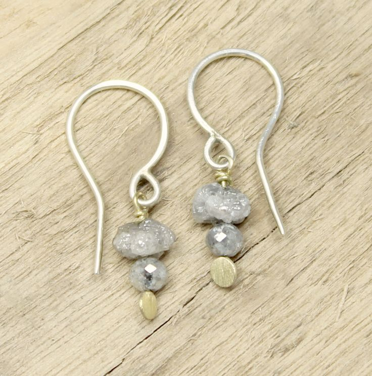 Tamara Gomez - Rough diamond and grey diamond bead drop earrings, sterling silver and 18ct yellow gold. #roughdiamonds