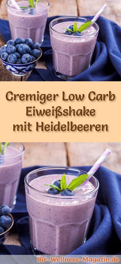 Eiweißshake mit Heidelbeeren selber machen - ein gesundes Low-Carb-Diät-Rezept für Frühstücks-Smoothies und Proteinshakes zum Abnehmen - ohne Zusatz von Zucker, kalorienarm, gesund ...