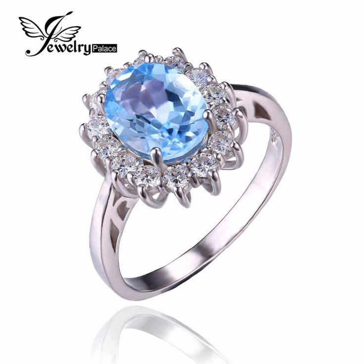 JewelryPalace Princess Diana William Kate 2.3ct Natural Blue Topaz Engagement Halo Ring 925 Sterling Silver Ring for Women