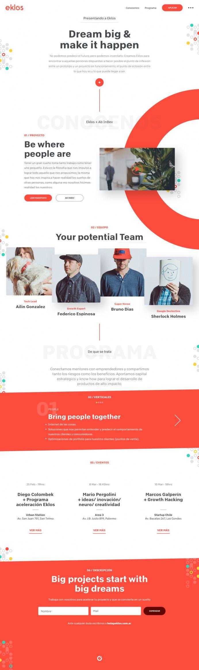 Eklos Landing Page in Web design