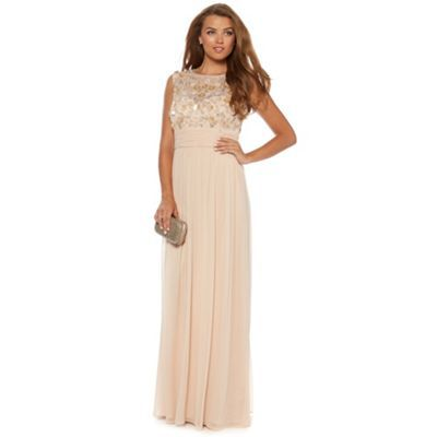 No. 1 Jenny Packham Champagne flower embellished occasion gown- at Debenhams.com