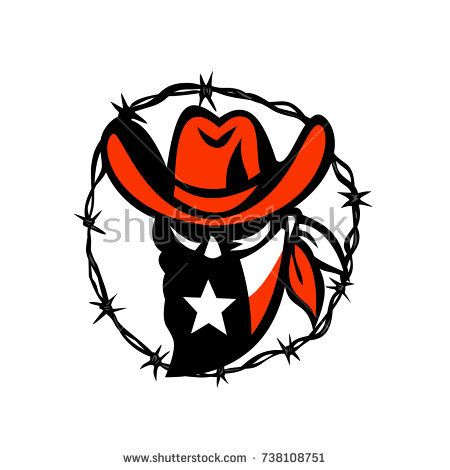 Icon style illustration of a Texan outlaw or bandit wearing a mask with Texas flag framed with a circular barb wire on isolated background.  #bandit #lonestar #icon #illustration