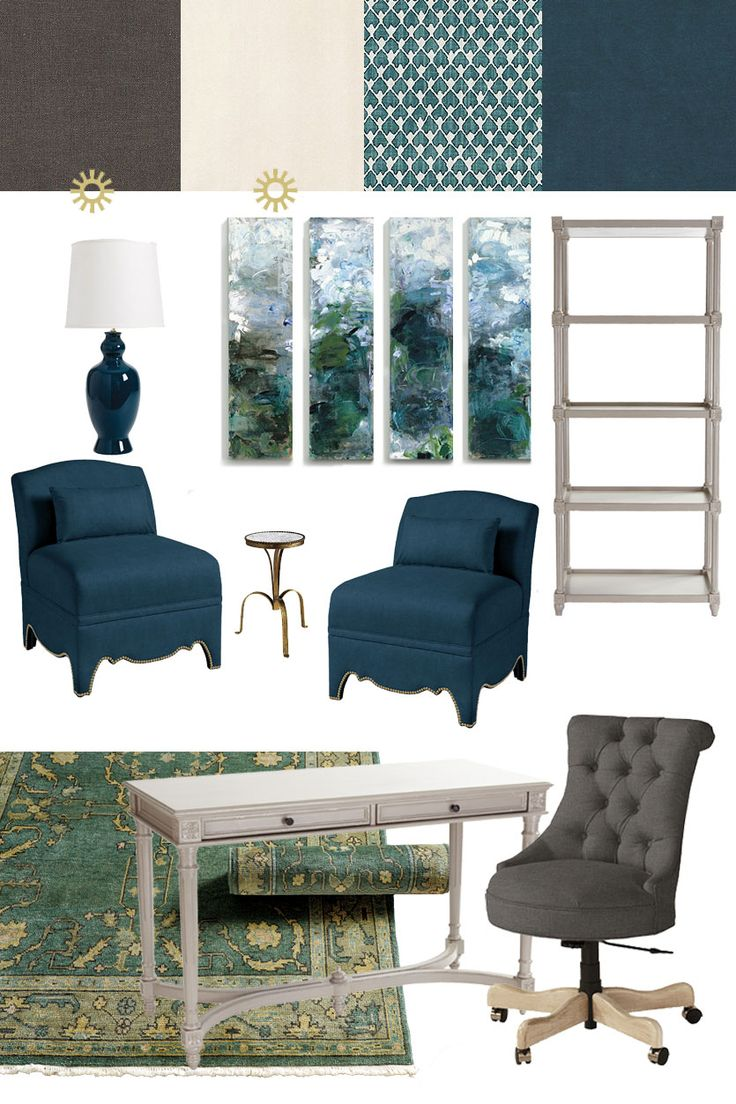home office with sapphire blues and teals with ballard designs furniture