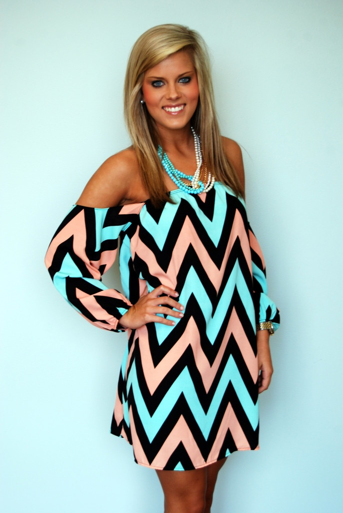 dress in baby blue and pink it would be a great baby shower dress