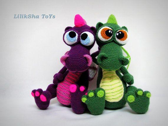 Crochet toy Amigurumi Pattern  Dragon von LilikSha auf Etsy