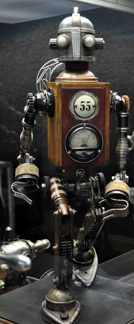 Love this guys work.  Dan Jone's steampunk Tinkerbots display at the San Diego Auto Museum's Steampunk exhibit.