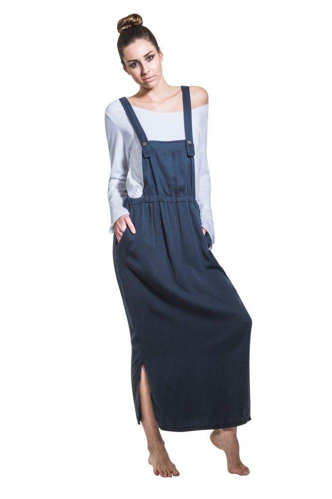 Long Bib Overall Dress - Navy Maxi Loose Pinafore With T-Shirt