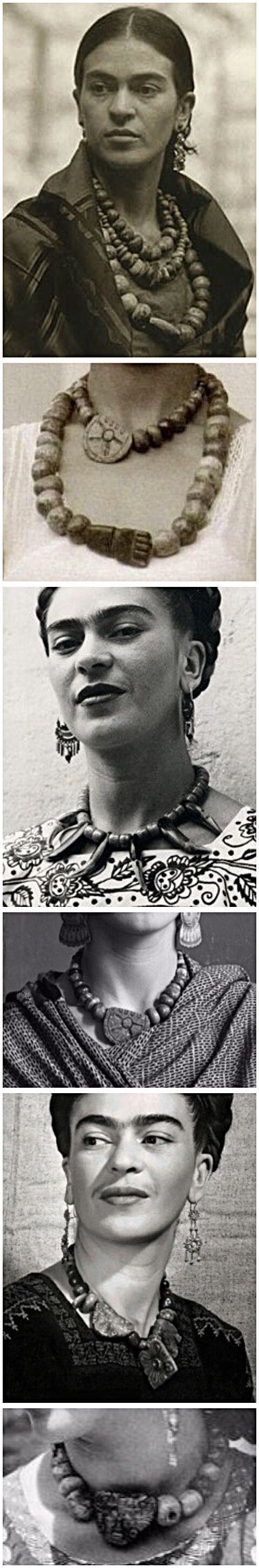 Frida Kahlo wearing necklaces of ancient pre-Columbian beads and pendants, mostly jade, jaguar teeth, etc.