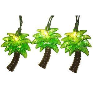 Kurt Adler Set Of 10 Tropical Green Palm Tree Patio Christmas Lights    Green Wire Novelty