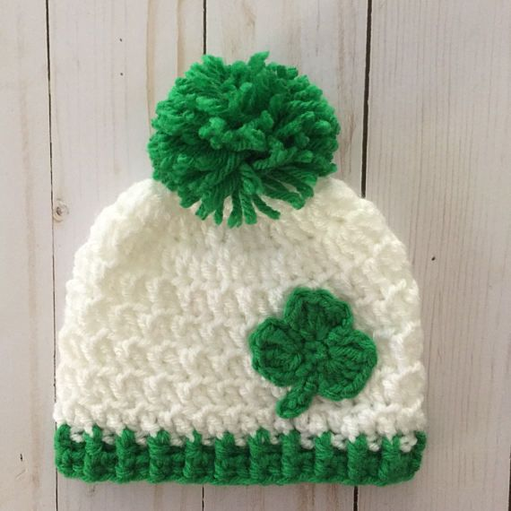 Crochet Shamrock hat, St Patricks Day hat, St Patrick's day baby, st patty's day hat, Irish baby gift, irish baby hat