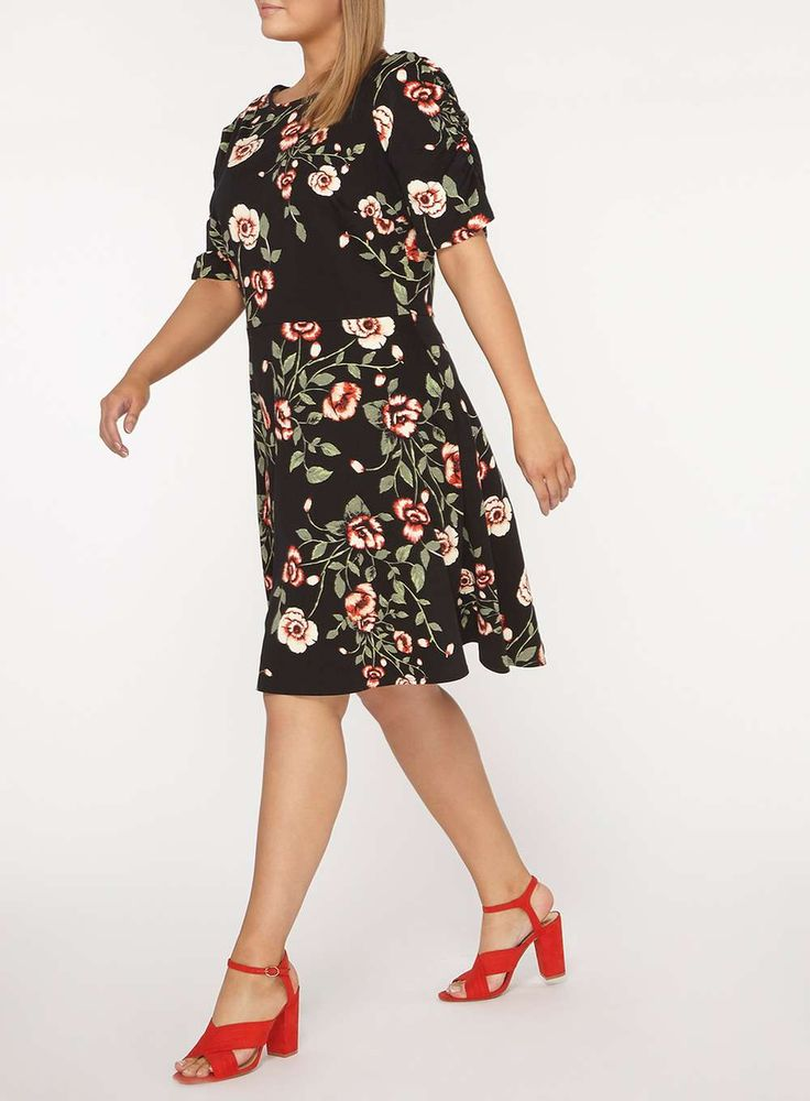 Womens DP Curve Plus Size Multi Coloured Floral Print Fit and Flare Dress- Fl Multi