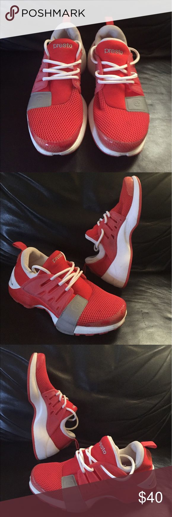 Red & White NIKE PRESTO Sneaker Sz 9 For your consideration is a red and white NIKE PRESTO Sz 9. Sneaker is neoprene/rubber with  light sights of use. Message with questions and thanks for stopping by. Nike Shoes Sneakers