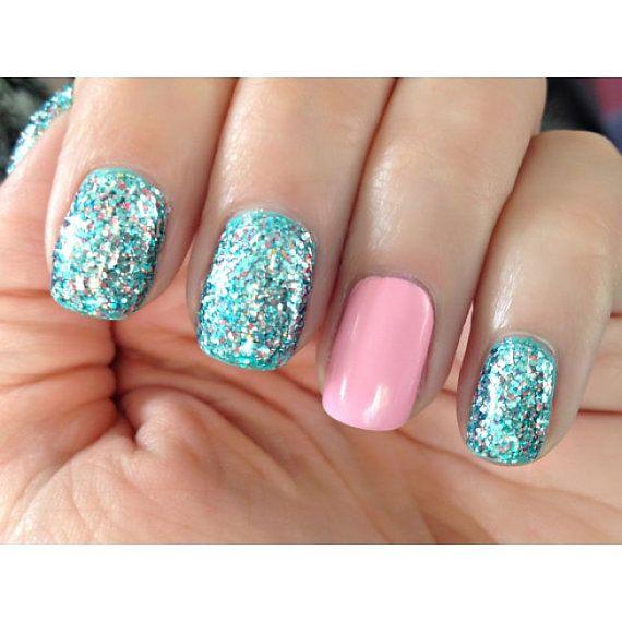 Little Mermaid ULTRA MINI  - Blue,Teal, Silver, Pink Prism Glitter Nail Polish @Hollie Baker Kaitoula Tou Rodolfou Maslarova