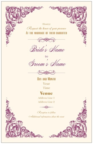 Vintage Cream Vertical Flat Wedding Invitations, Victorian Vertical Flat Wedding  Invitations | Vistaprint