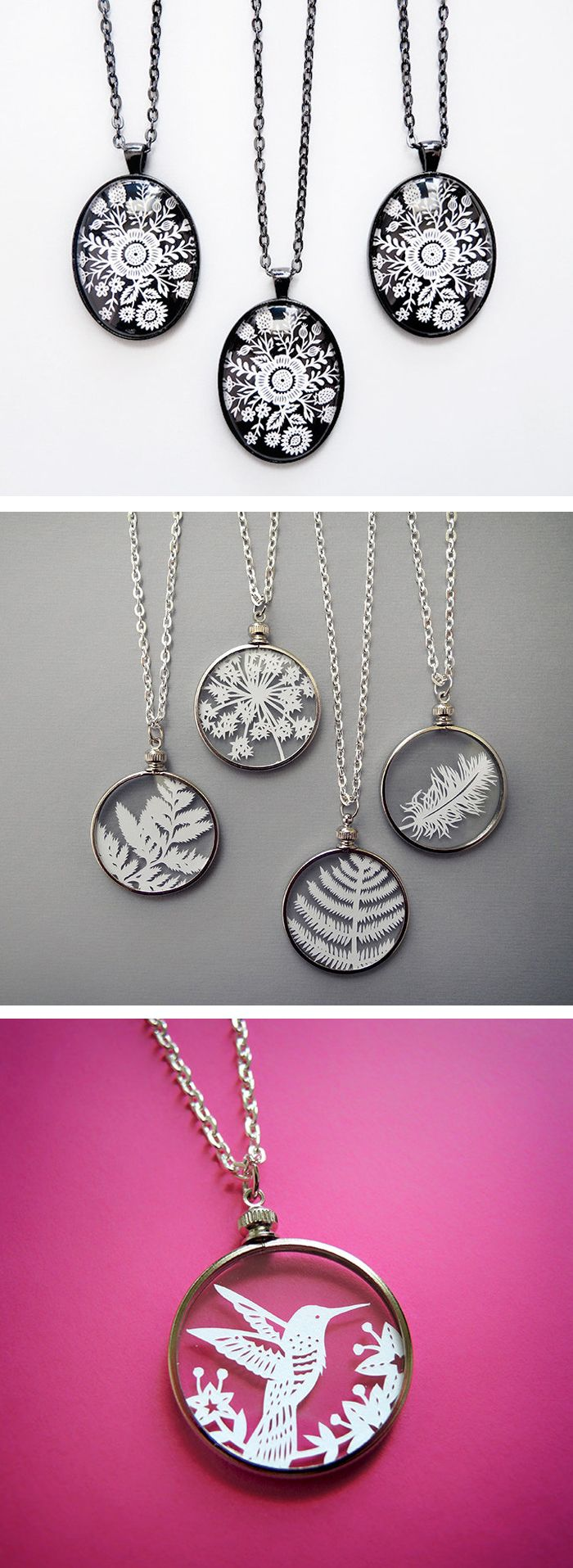 Paper cutout necklaces by Sarah Trumbauer // paper cutouts // paper craft
