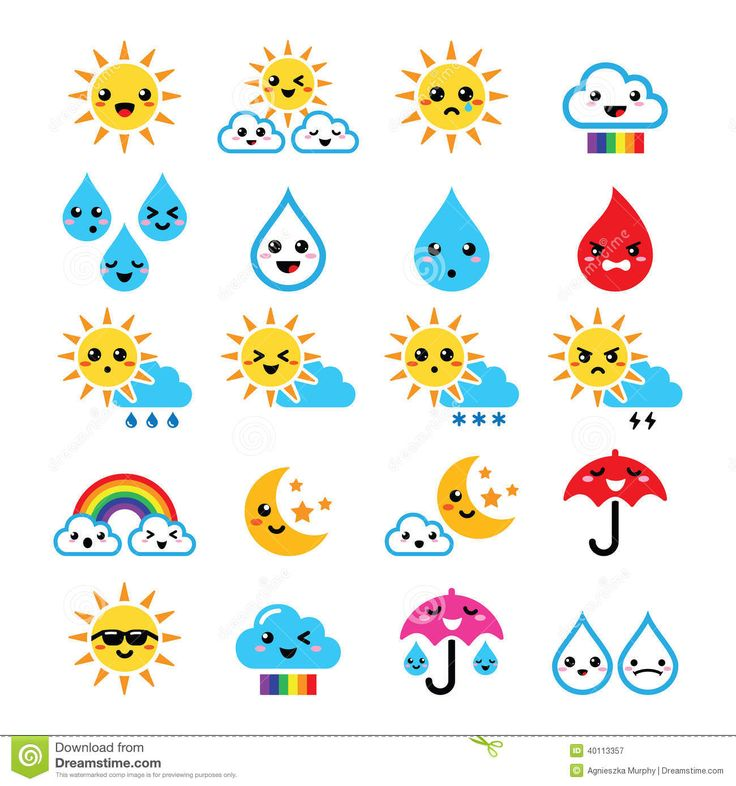 Cute Sun, Rainbow, Moon, Rain And Cloud - Kawaii, Manga Icons Stock Illustration - Image: 40113357
