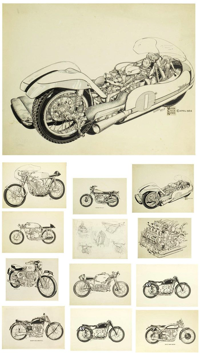 Bruce Smith, a collection of original pen and ink illustrations for Motor Cycle News, 1960s-70s