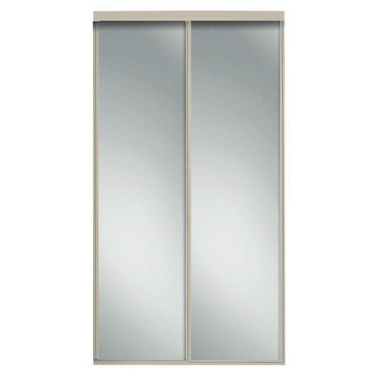 Contractors Wardrobe 96 in. x 96 in. Concord Brushed Nickel Mirrored Aluminum Frame Interior Sliding Door-CON-9696BN2X - The Home Depot