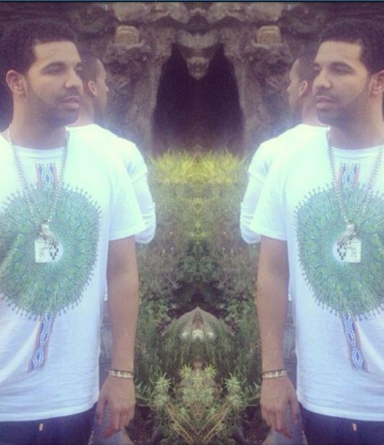 Drake wearing Marcelo Burlon County of Milan T-Shirt!! Shop at: http://www.lindelepalais.com/en-US/men/clothing?idProduttore=304