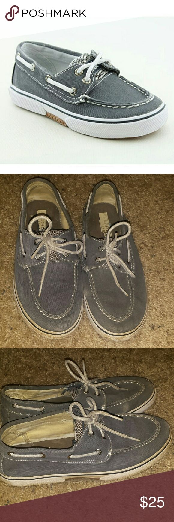 XMAS SALE !!!Gray blue sperrys Good condition but logo is worn off on the back size 4 kids which Is equivalent to a 6 women's adult ! (: Sperry Top-Sider Shoes Flats & Loafers