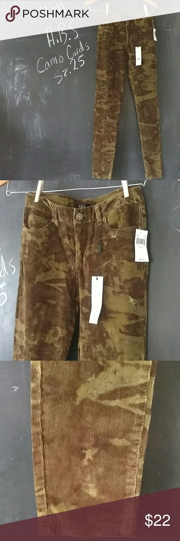 NWT ABS Corduroy Camo Pants Sz 25 Gorgeous soft cords ABS Allen Schwartz.  Green camo camouflage pattern skinny pants.  NWT Excellent condition.  Sz 25 Slight stretch to them.    Nice pants. ABS Allen Schwartz Pants Skinny