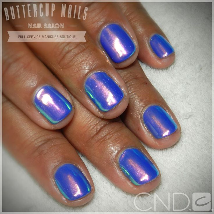 CND Shellac in Blue Eyeshadow with the gorgeous Luminaura effect from @socialclaws Beautiful!    #CND #CNDWorld #CNDShellac #Shellac  #BlueEyeshadow #Luminaura #UnicornNails #ButtercupNails