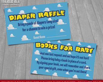 Toy Story bebé ducha invitación insertos - instantánea descargar - Disney Toy Story libro imprimible solicitud y rifa de pañal - niña o niño