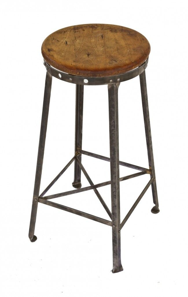 Fresh Industrial Stool with Wood Seat