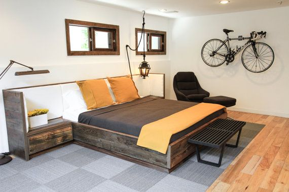 Reclaimed Wood Bed with Upholsterd Headboard and by rdandco, $6900.00