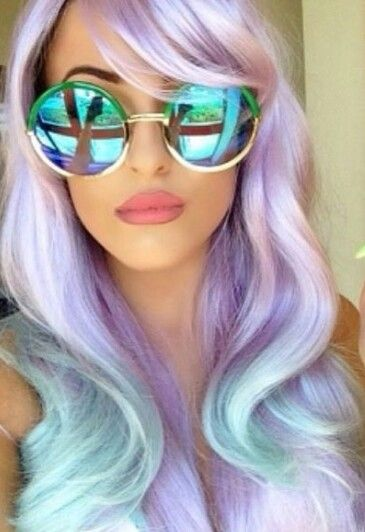 Pastel Purple Lavender Blue Ombre Dyed Hair Color
