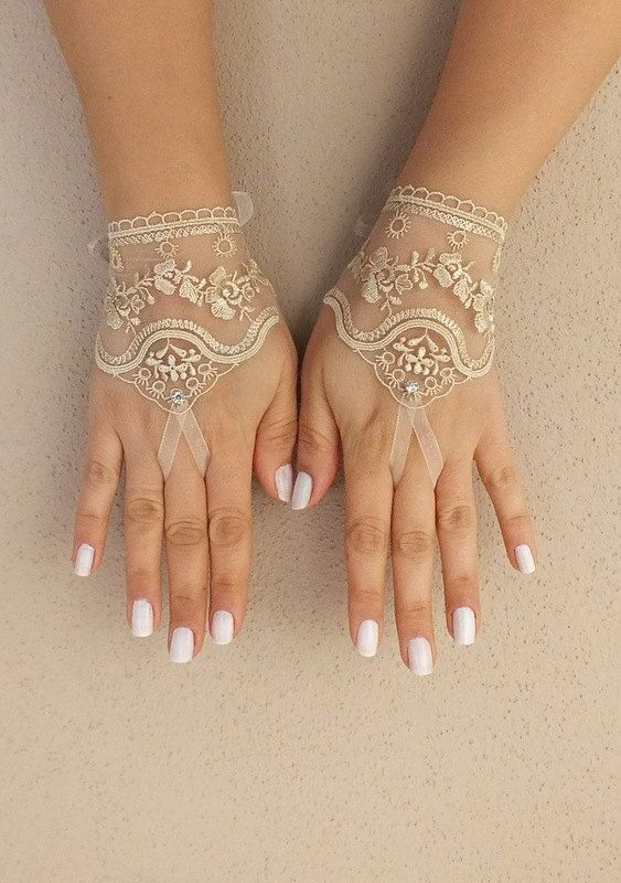 wedding glove, light beige wedding glove, bridal tea party accessory, bridal glove, bridesmaid gifts, FREE SHIP on Etsy, $25.00