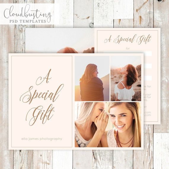 Photography Gift Certificate Card - Customizable .PSD Template - https://www.etsy.com/listing/271855442