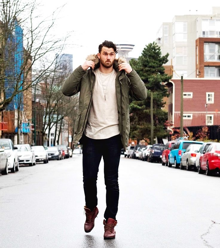 Green Winter Jacket/ Black Jeans/ Brown Boots/ Beige T Shirt/ Silver Necklace