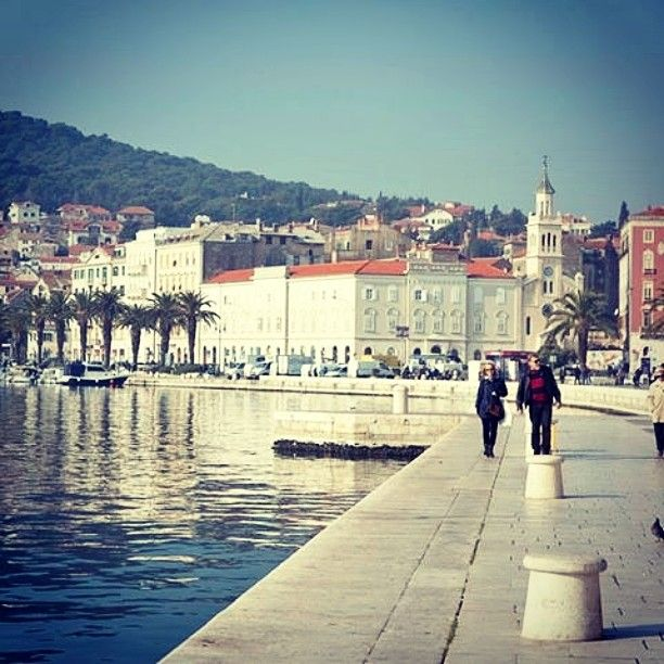 The esplanade in Split, Croatia is a popular place for tourists and locals to soak up the Adriatic Sea and a good coffee