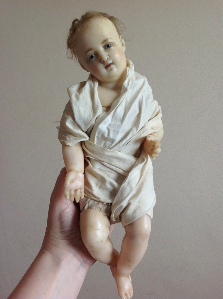 Lovely RARE Early Antique Poured Wax Baby Doll w Inserted Hair Creche Jesus | eBay