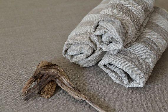 Set of 3 Striped Linen Towels Gift Linen Hand by LinenLifeIdeas