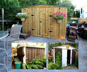 Dress up an old outdoor metal shed with a wooden exterior.