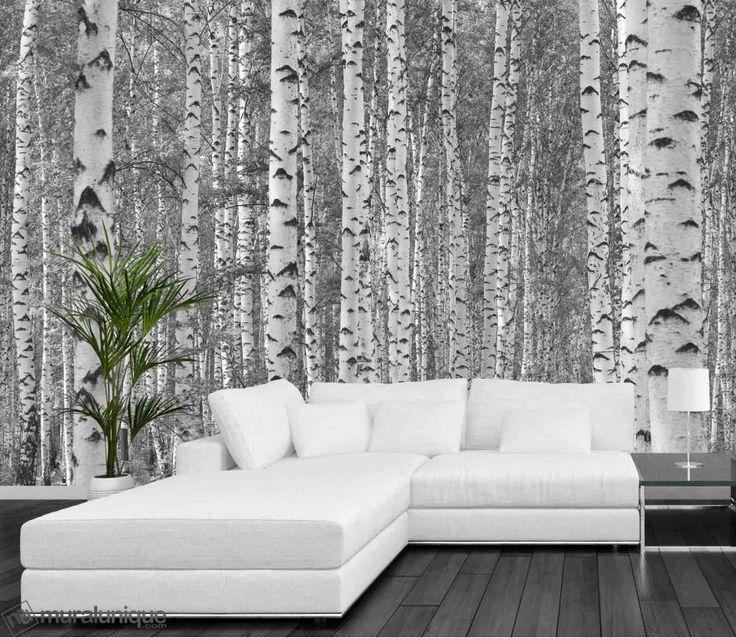 for t de bouleaux noir et blanc 12 39 x 8 39 3 66m x 2 44m d coration pinterest arbres. Black Bedroom Furniture Sets. Home Design Ideas