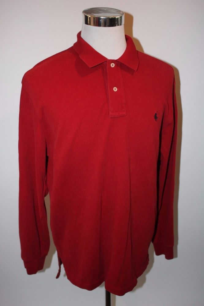 POLO Ralph Lauren Red Shirt Mens Large Long Sleeve Pony Rugby Logo Soft Cotton | Clothing, Shoes & Accessories, Men's Clothing, Casual Shirts | eBay!