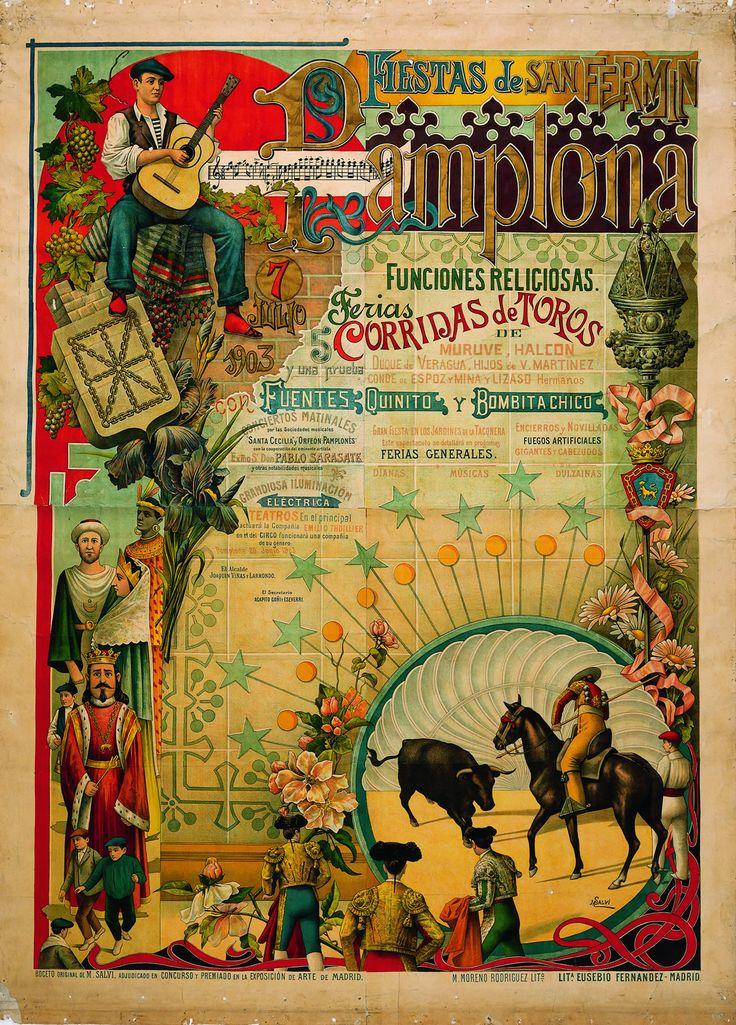 Cartel de los Sanfermines de 1903 - Fiestas de San Fermín, Pamplona.
