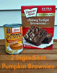2 Ingredient Pumpkin Brownies | Weight Watchers Recipes