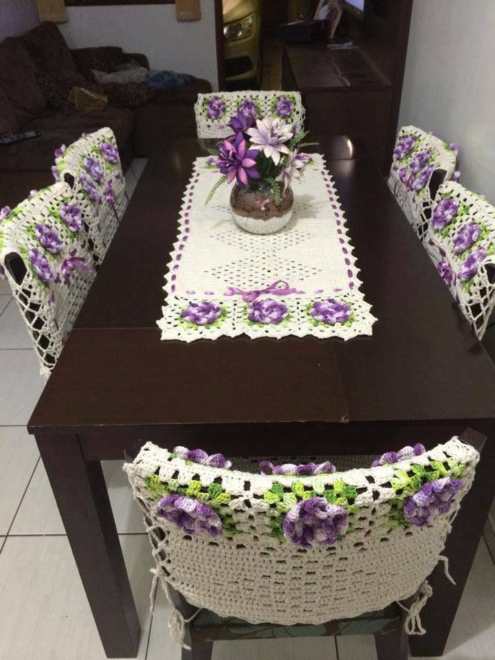 Luty Artes Crochet: Capas de cadeiras e toalhas de mesa